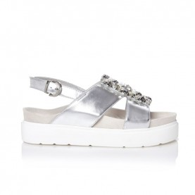Barachini CC739Y silver wedge sandals