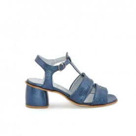 Lilimill 6631 woman medium heels blue leather sandals