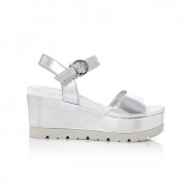 Barachini CC751Y silver wedge sandals