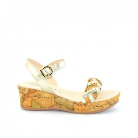 Alviero Martini N0317 platinum and geo beige wedge sandal