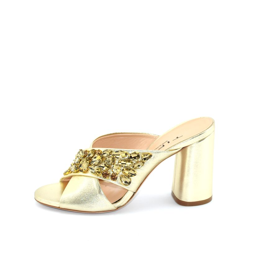 a220590e33 Tiffi A74/80Z sandalo gioiello con tacco alto in pelle laminata platino