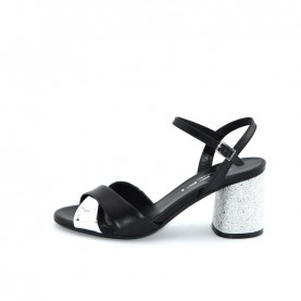 Tiffi A61/60Z black and silver leather medium heels sandals