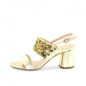 Tiffi A76/60Z platinum leather medium heels sandals