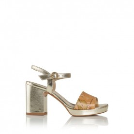 Alviero Martini E859 geo beige and platinum medium heels sandal