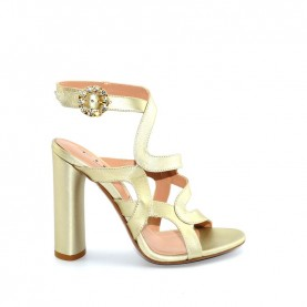 Tiffi A38/100A platinum leather high heels sandals