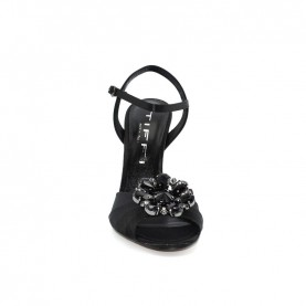 Tiffi A12/100T black satin high heels sandals