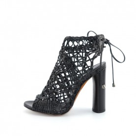 Tiffi A03/100A black leather high heels braided ankle boots