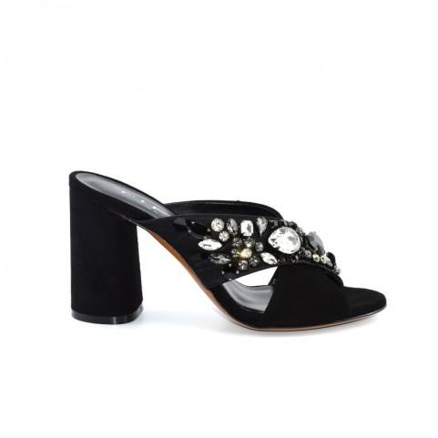 c08b8867c0 Tiffi A30/80Z sandalo gioiello con tacco alto in camoscio nero