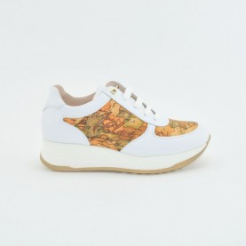 Alviero Martini N0625 white and geo beige sneakers