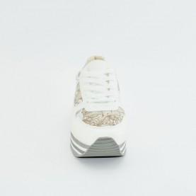 Alviero Martini 10562 woman sneakers white geo safari lamè