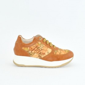 Alviero Martini N0624 leather and geo beige sneakers