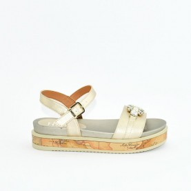 Alviero Martini 10576 platinum and geo beige sandals
