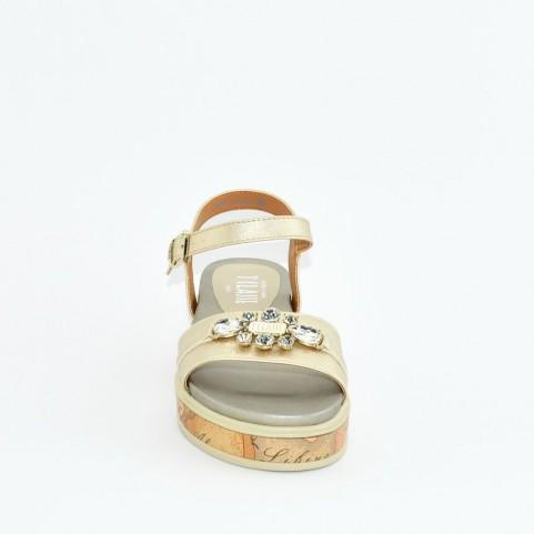 Alviero Martini 10576 platinum and geo beige sandals