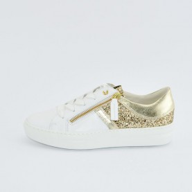 DL Sport 4228 woman white and platinum leather sneakers