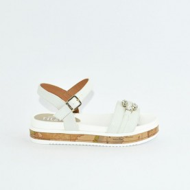 Alviero Martini 10575 white and geo beige sandals