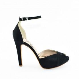 Morelli LN71522  black satin high heels sandals