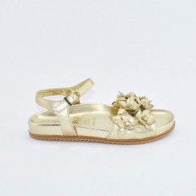 Morelli 00466 platinum woman sandals with flowers