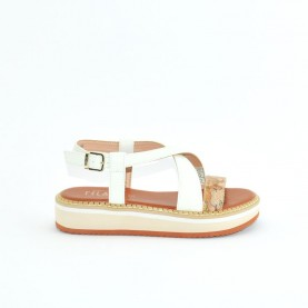 Alviero Martini 10578 white platinum and geo beige sandals