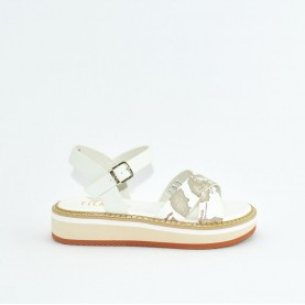 Alviero Martini 10591 white and geo safari sandals
