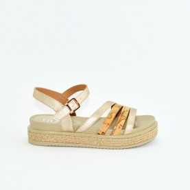 Alviero Martini 10582 gold rose and geo beige sandals