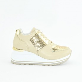 Apepazza S0HIGRUN06 platinum paillettes woman sneakers