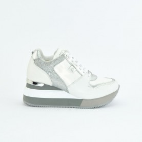 Apepazza S0HIGRUN07 white and silver woman sneakers