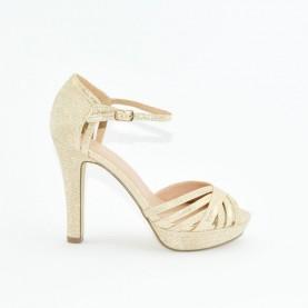 Menbur 21257 gold high heels sandals
