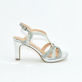 Menbur 21820 silver medium heels sandals