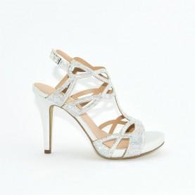 Menbur 21228 silver high heels sandals
