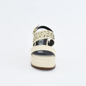 Barachini EE113M beige and platinum wedge sandals