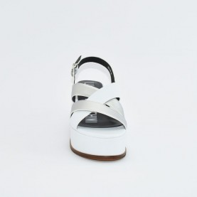 Barachini EE112K white and silver wedge sandals