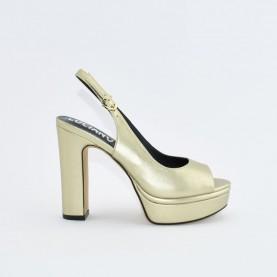 Barachini EE171P platinum high heels chanel sandals