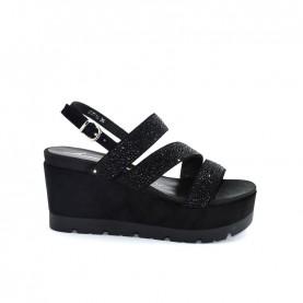 Barachini EE771G black wedge sandals