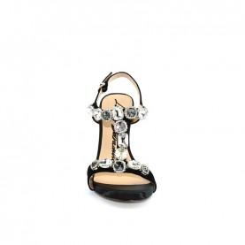 Barachini EE744G black high heels jewel sandals