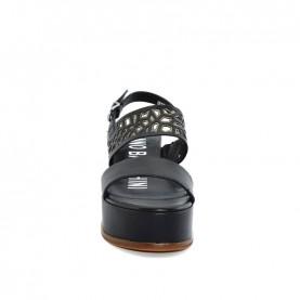 Barachini EE113L black and gun metal wedge sandals