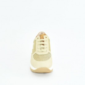 Alviero Martini N0627 beige and platinum glitter sneakers