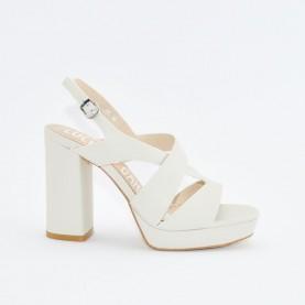 Barachini EE185C bone high heels sandals
