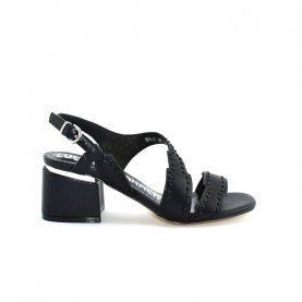 Barachini EE141L black medium heels sandals