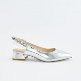 Barachini EE831N silver flat heels jewel chanel