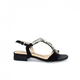 Barachini EE708G black flat jewel sandals