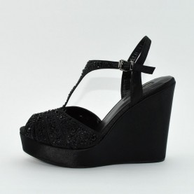 Barachini 6304A wedge black sandals