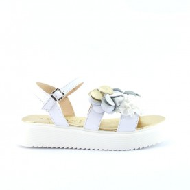 Morelli 51277 white and platinum sandals with flower