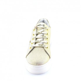 Gaelle G-600 platinum glitter platform sneakers with logo
