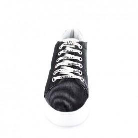 Gaelle G-600 black glitter platform sneakers with logo
