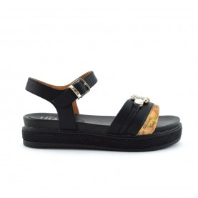 Alviero Martini 10907 geo black sandals with stones