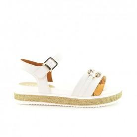 Alviero Martini 10907 geo white sandals with stones