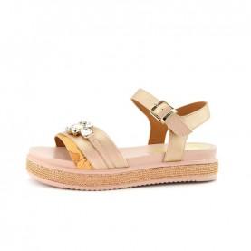 Alviero Martini 10907 geo gold rose sandals with stones
