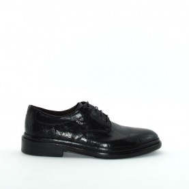 Corvari 5104 man black leather lace ups shoes