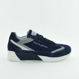 Byblos Blu 672060 blue suede and nylon man byactive sneakers