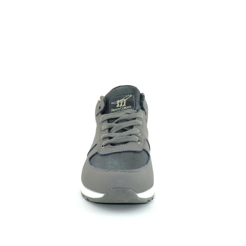 reputable site 837b3 15ba8 Henry Cotton's Beylor sneakers uomo in pelle e tessuto grigio